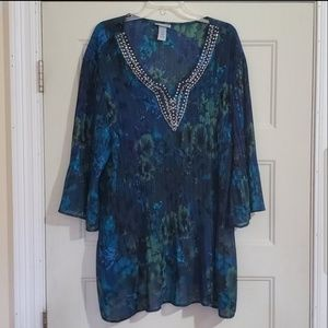 Catherines green and blue blouse Sz 4X 30/32W